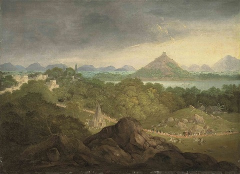 pushkar india with a parade of figures elephants and horses in the foreground by charles sir doyly