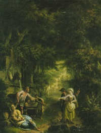 waldlandschaft mit einer brunnenanlage by giovanni battista innocenzo colombo