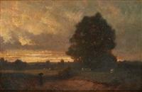 retour des champs au coucher du soleil by paul j. lauters