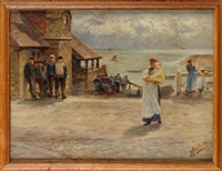 fisherfolk, cullercoats harbour by robert jobling