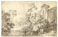 italianate landscape with figures by ruins by abraham genoels