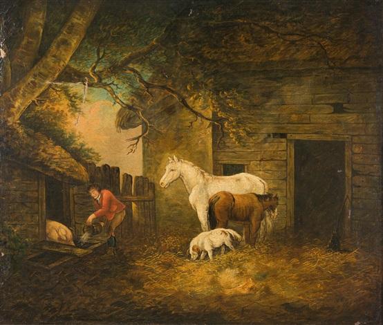 vor dem pferdestall ein bauer beim füttern seiner tiere by george morland