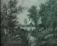 landschaft mit laubbaumen und figurlicher staffage by paul astier