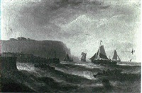 fishing vessels entering whitby harbour by william p. rogers