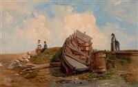 barque et personnages sur la grève by gabriele smargiassi