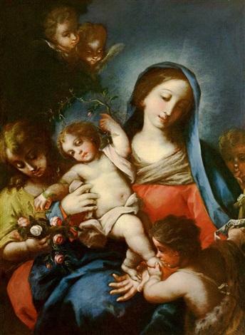 madonna mit jesuskind und johannesknabe unter einem rosenstrauch by carlo maratta