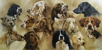 study of a springer spaniel, a weimaraner, a greyhound, an english setter, a black labrador, terriers and hounds by mick cawston