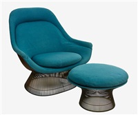 early rare high back lounge chair and matching ottoman by warren platner
