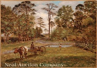 wagon with oxen in a louisiana landscape by american school-louisiana (19)