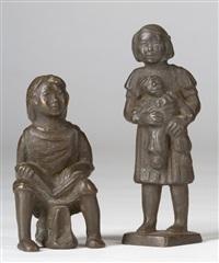 mädchen mit puppe (jorinde) und sitzendes mädchen mit buch (birgit) (2 works) by karl kluth