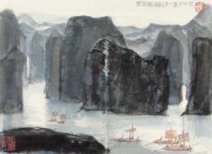 漓江一景 landscape by li keran