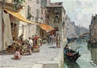 buying fruit by a venetian backwater by angelo brombo