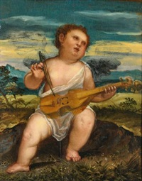 cupid with a violin in a landscape by bonifazio de pitati
