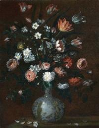 natura morta con fiori, e vaso di porcellana by astolfo petrazzi