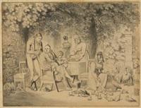 der dorfpastor und seine familie nach dem mittagsmahl im garten by johann michael (volz) voltz