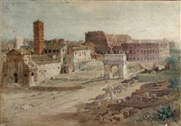 a view of the coliseum and the arch of constantine, from the palace of the caesars, rome by henry parsons riviere
