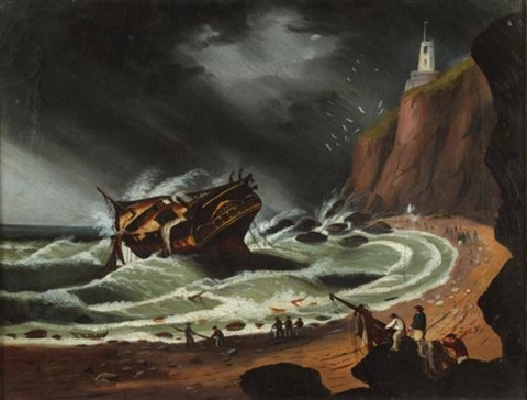 ship in storm by thomas chambers