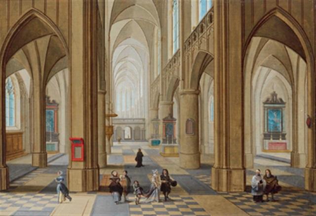 inneres einer gotischen kirche mit figuren by peeter neeffs the elder