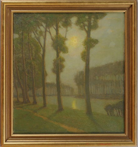 morning on the bruges canal by charles warren eaton