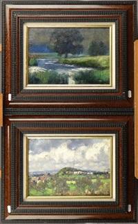 paysage nocturne et paysage campagnard (pair) by adolf glatte