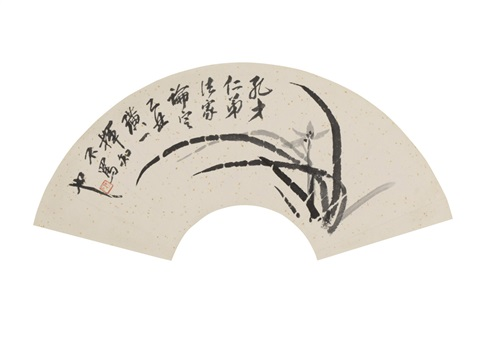 grass and flowers fan by qi baishi