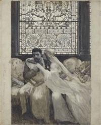mélissinde et bertrand d'allamanon devant un vitrail (edmond rostand, la princesse lointaine, acte iii, scène vii) by luc olivier merson