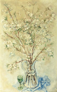 a still life with white blossom in a glass vase by dirk kruizinga