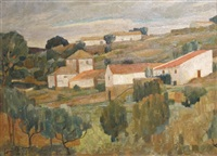 paysage de provence aux toits rouges, nov. by edmond bille