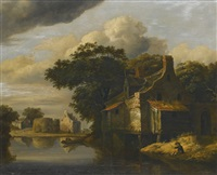 view of a village across a river, with a man fishing in the foreground by roelof van vries