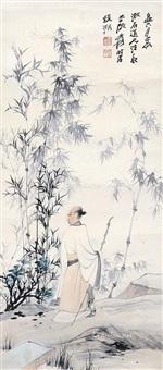 竹下行吟图 立轴 纸本 by zhang daqian