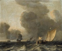 two dutch smalships and a man-o-war off the coast in stormy weather by aernout (johann arnold) smit