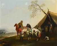 vor dem reiterlager by carel van falens