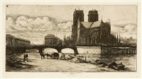 l'abside de notre-dame de paris (+ 2 others; 3 works) by charles meryon