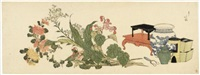 surimono - preparations for an autumn flower arrangement (yokonagaban) by hokutai