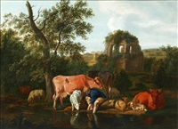 a shepheress and a child resting by a river with her flock by dirk van bergen
