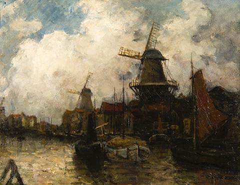 dutch harbour scene by rose aspinall syers