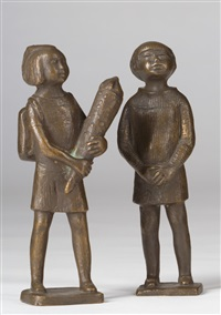i-dötzchen (mädchen mit schultüte) und singendes mädchen (2 works) by karl kluth