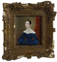 portrait of susan westrapp wearing a blue velvet dress by a red curtain by jean-baptiste sabatier