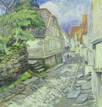 brostensbelagt gade med byhuse i stavanger by emil abrahamsen