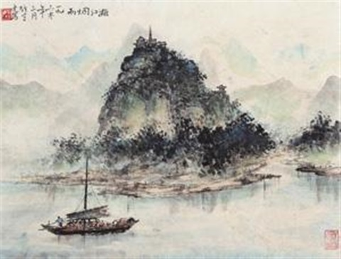 漓江烟雨 misty li river by li xiongcai