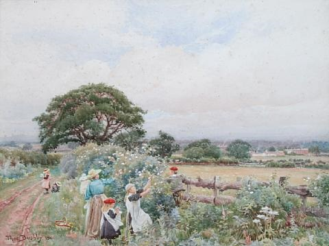 gathering wild roses near blackwell carlisle by thomas bushby