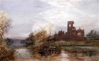 kirkstall abbey, with figures in punts on the river before by hubert herbert coutts