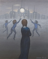 playing children in front of a drastic setting by irene müller