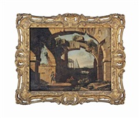 an architectural capriccio with figures beneath a ruined arch by niccolò codazzi