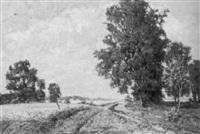 feldlandschaft mit bäumen und bach by willy benz-baenitz