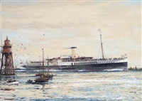 "'the paddle steamer ""crested eagle"" running down the thames estuary, her deck crowded with passengers by jack spurling"