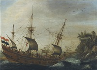 a dutch merchantman in coastal waters by hendrik cornelisz vroom