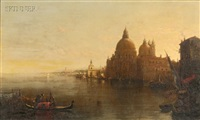 sun rise venice, with santa maria della salute - entrance grand canal by george loring brown