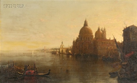 sun rise venice with santa maria della salute entrance grand canal by george loring brown