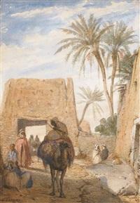 un homme à dos de chameau traversant un village arabe by charles camino
